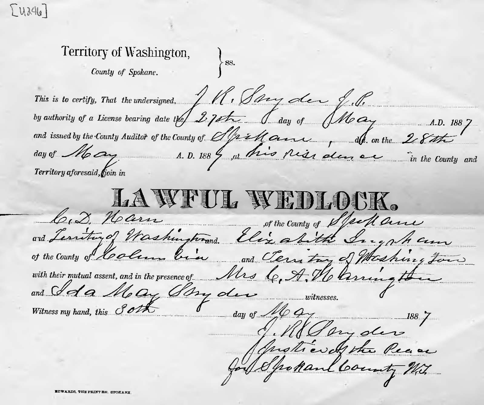 Ancestors And Family Of Steven Harn Redman Marriage Certificate