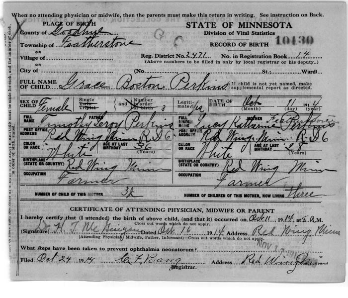 Ancestors and Family of Steven Harn Redman - Grace Boston Perkins ...